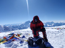 Cho oyu summit with Everest behind